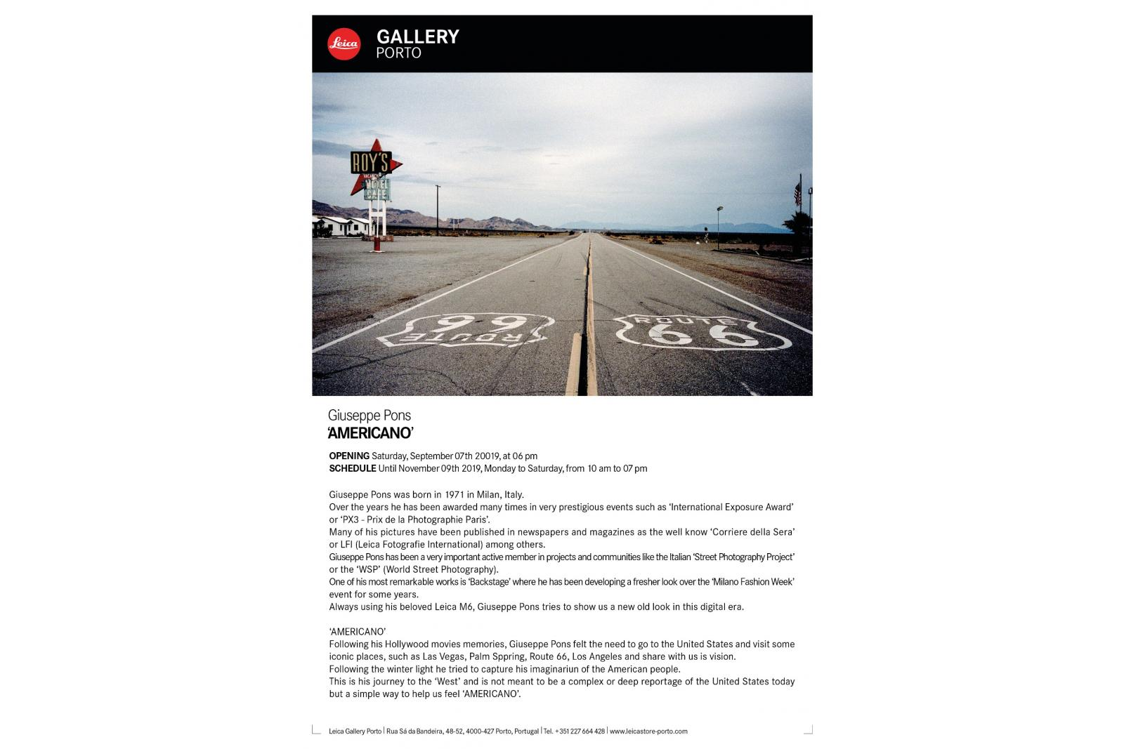 Exhibition at the Leica Gallery from Sept. 7th till Nov. 9th 2019
